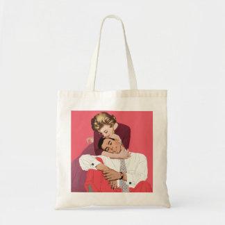 Bolsa Tote Amor e romance do vintage, Newlyweds no rosa