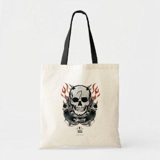 Bolsa Tote Arte do tatuagem do crânio & das chamas do pelotão
