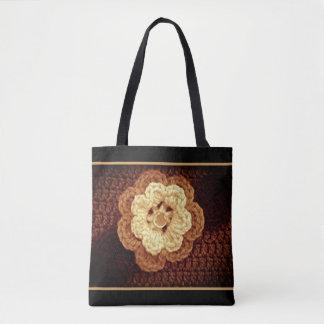 Bolsa Tote As máscaras bege de Brown Embellished o Crochet da