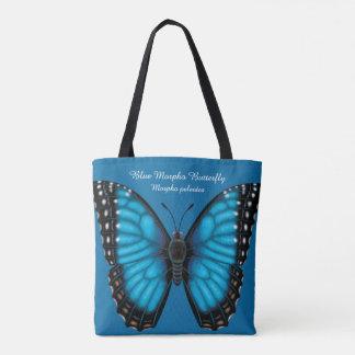 Bolsa Tote Borboleta azul de Morpho dorsal e Ventral