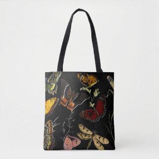 Bolsa Tote Borboletas coloridas no preto