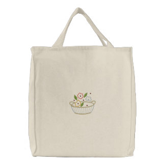 Bolsa Tote Bordada Carryall bordado cesta das canvas da flor