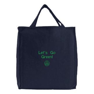 Bolsa Tote Bordada Deixa para ir sacola escura bordada verde