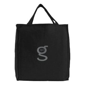 Bolsa Tote Bordada Logotipo bordado do cinza do Cobblestone de w do