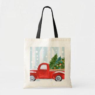 Bolsa Tote Camionete vermelho do Natal em uma estrada nevado