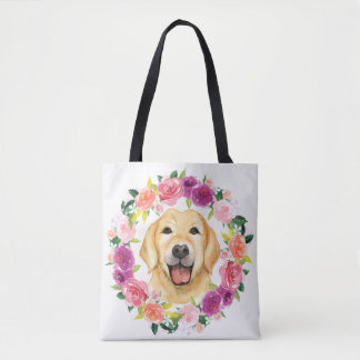 Bolsa Tote Cão amarelo do laboratório com a sacola floral da