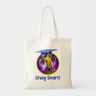 Bolsa Tote Cão engraçado da graduação que veste o chapéu