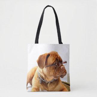 Bolsa Tote Cão esperto com vidros de leitura sobre