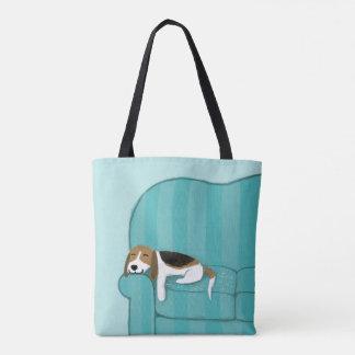Bolsa Tote Cão feliz bonito do sofá do lebreiro |