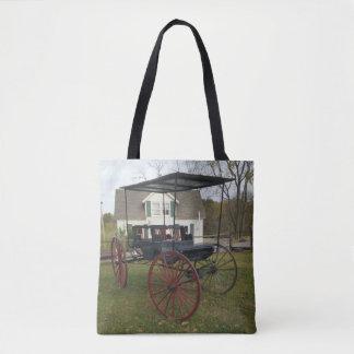 Bolsa Tote Carrinho de Amish do vintage na frente da casa da