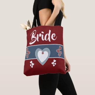 Bolsa Tote Casamento azul da noiva e vermelho escuro