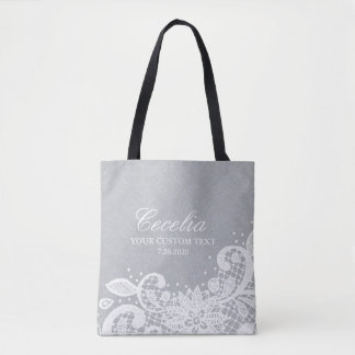 Bolsa Tote Casamento branco personalizado do laço do vintage
