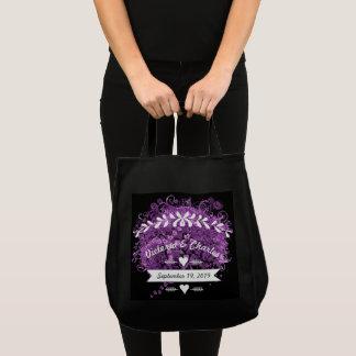 Bolsa Tote Casamento brilhante da árvore da folha de Purple