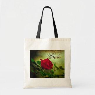 Bolsa Tote casamento gótico do steampunk da rosa vermelha do