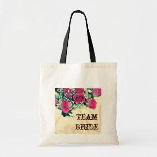 Bolsa Tote casamento retro do rosa do rosa da respiração do