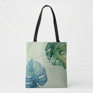 Bolsa Tote Casamento tropical da folha da aguarela