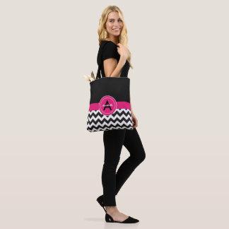 Bolsa Tote Chevron cor-de-rosa preto