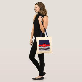 Bolsa Tote Chevron vermelho azul escuro