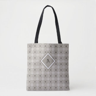 Bolsa Tote Cinzas, branco, e sacola modelada preto