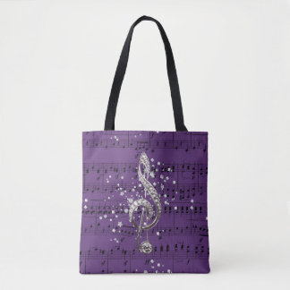 Bolsa Tote Clef & confetes roxos de triplo da prata da