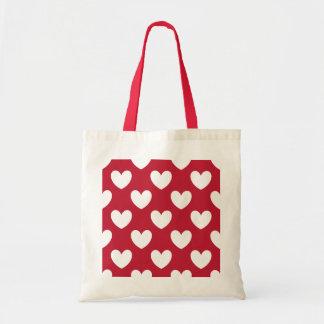 Bolsa Tote Corações brancos e vermelhos da polca