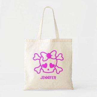 Bolsa Tote Crânio feminino cor-de-rosa do emo com arco