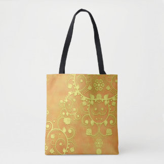 Bolsa Tote Damasco floral do rico da laranja do ouro amarelo