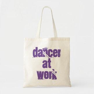 Bolsa Tote Dançarino sacola branca/roxa do trabalho