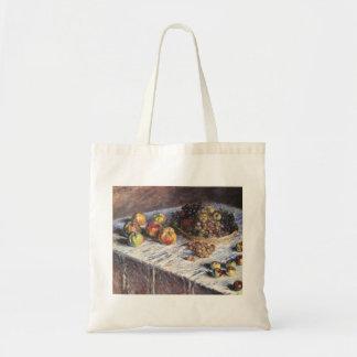 Bolsa Tote De Claude Monet vida ainda com maçãs e uvas