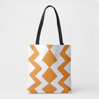 Bolsa Tote Design alaranjado e branco do ziguezague