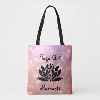 Bolsa Tote Design cor-de-rosa bonito de Namaste da menina da
