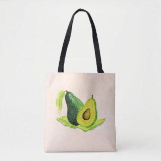 Bolsa Tote Do abacate fruta verde da vida ainda nas aguarelas