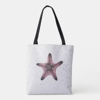 Bolsa Tote Estrela do mar no teste padrão branco do