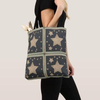 Bolsa Tote Estrelas silenciado retros em cinzas azuis escuro