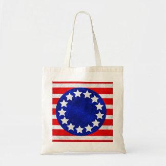 Bolsa Tote Etiquetas coloniais da bandeira dos Estados Unidos