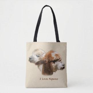 Bolsa Tote Eu amo a sacola das alpacas