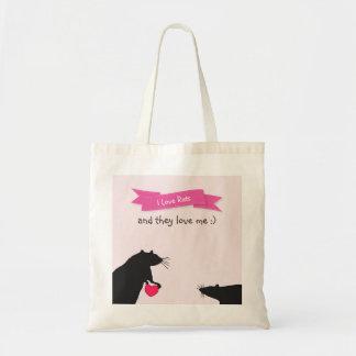 Bolsa Tote Eu amo ratos e amam-me