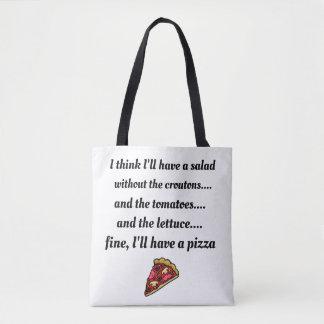 Bolsa Tote Eu preferencialmente comeria a pizza