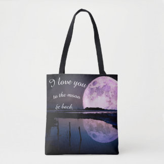 Bolsa Tote Eu te amo à lua & ao saco traseiro