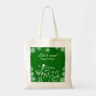 Bolsa Tote Feliz Natal verde e branco da ilustração