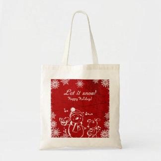 Bolsa Tote Feliz Natal vermelho e branco da ilustração