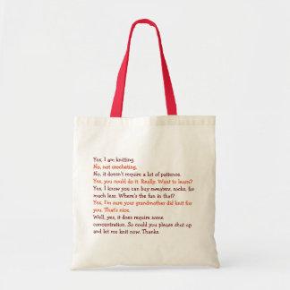 Bolsa Tote Fio de confecção de malhas engraçado do dia das