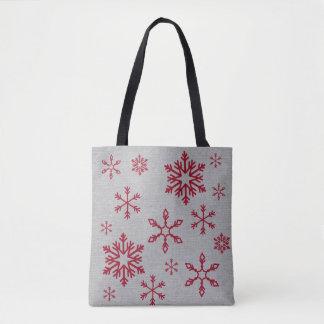 Bolsa Tote Flocos de neve vermelhos em cinzas tudo saco