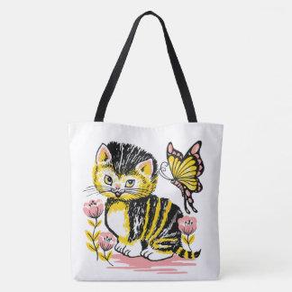 Bolsa Tote flor de borboleta bonito do gato do gatinho da
