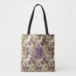 Bolsa Tote Flor roxa do cardo de Nouveau da arte inicial