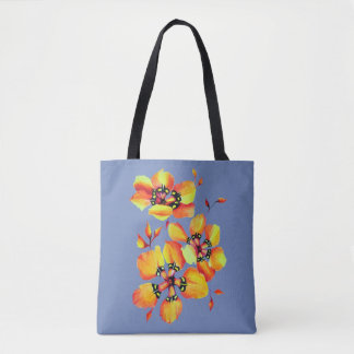 Bolsa Tote Flores alaranjadas brilhantes - cinza azul