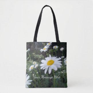 Bolsa Tote Flores amarelas brancas alegres das margaridas