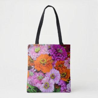 Bolsa Tote Flores coloridas da dália