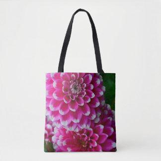 Bolsa Tote Flores cor-de-rosa e brancas da dália