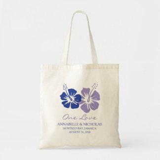 Bolsa Tote Flores do hibiscus dos azuis marinhos e da lavanda